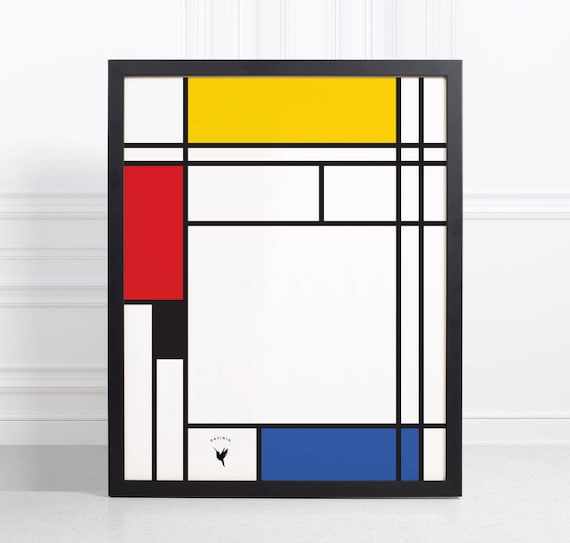 Mondrian-inspired Composition #2 | Geometric Giclée Art Print | Minimalism | Geometric Poster | De Stijl | Color Blocks | The Grid
