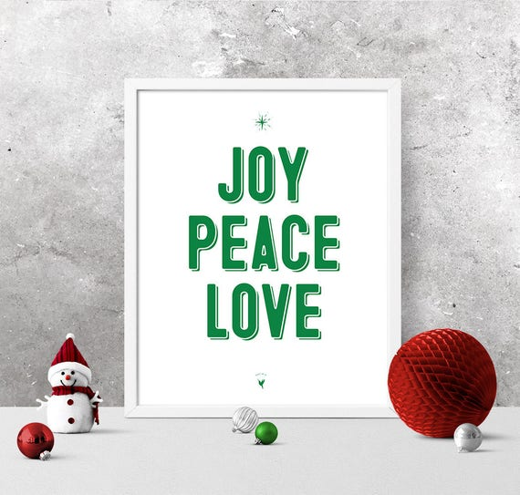 Joy Peace Love Christmas Giclée Art Print | Green Christmas Decor | Christmas Gift | Galatians 5:22 | Fruit of The Spirit | Believe | Merry
