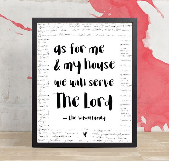 Personalized - As for Me and My House, We Will Serve the Lord Giclée Art Print | Bible Journaling | Modern Christian art | Housewarming Gift