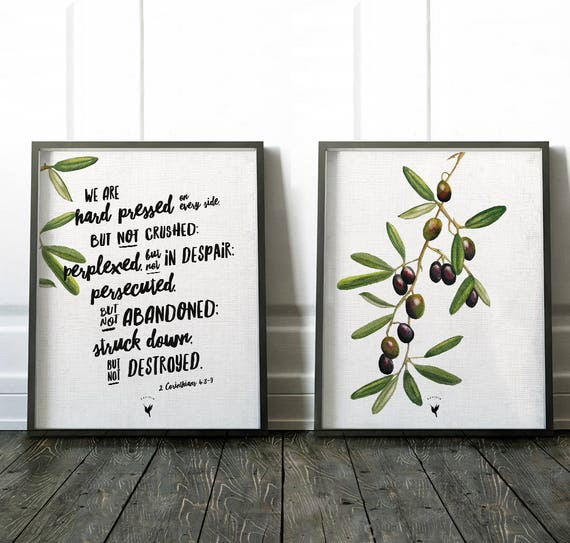 Olive Tree & 2 Corinthians 4:8-9 | Set of 2 Giclée Art Prints | Bible Verse Wall Art | Mixed Media Original Olives Painting | Made by hand