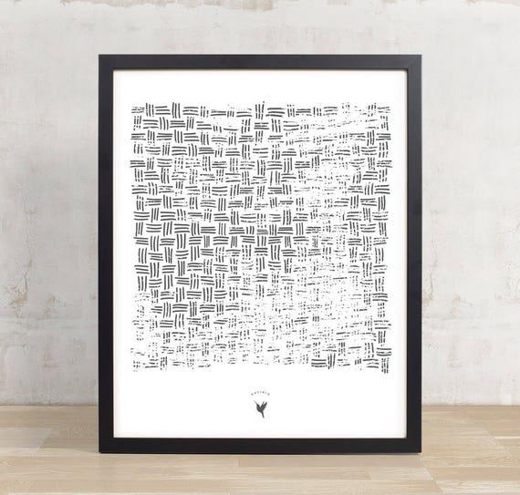 Basket Weave Pattern Giclee Art Print | Minimalist Poster | Modern Poster | Bohemian | Decor | Gray Print | Housewarming