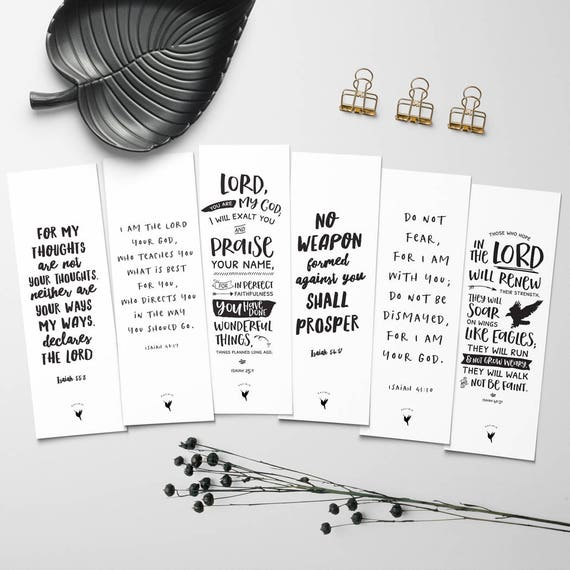 Book of Isaiah // Artisanal Bookmark Set of (6) // Isaiah 40.31 / Isaiah 55.8 / Isaiah 48.17 / Isaiah 54.17 / Isaiah 25.1 / Isaiah 41.10