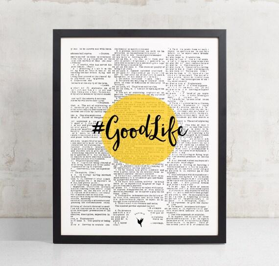 Hashtag Good Life | Motivational Giclée Art Print | Good Vibes | Be happy | Like a boss | Positive energy |  Hashtag Print | Dorm Room Decor