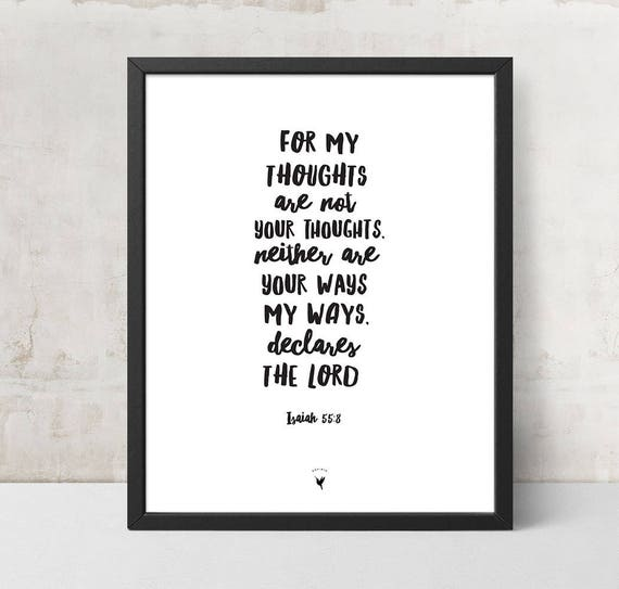Isaiah 55:8 Giclée Art Print | Christian Journal | Scripture art | Modern Christian | For my thoughts are not your thoughts | Trust The Lord
