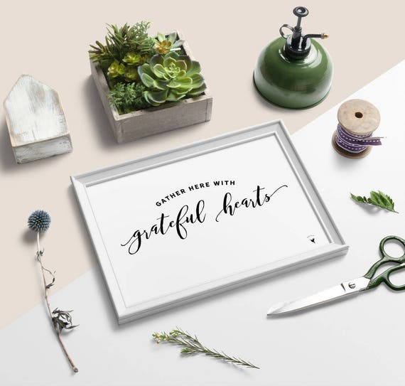 Gather Here With Grateful Hearts Giclée Art Print | Gather | Thanksgiving | Thankful | Horizontal Art | Blessed | Gathering