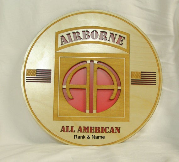 82nd Airborne 3D personalized plaque Free Engraving