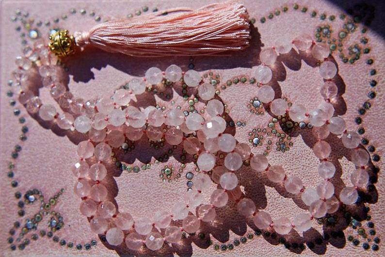 Silk Tassel Yoga Necklace Love Necklace Buddhist Necklace Rose Quartz Mala Beads Meditation Beads Prayer Beads 108 Mala Necklace