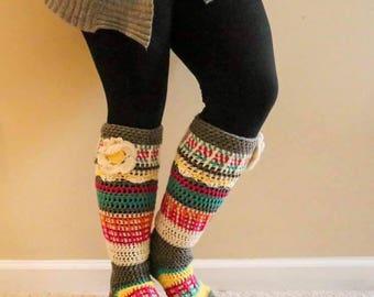 Crochet legwarmers, bootcuffs, foot warmers, footie legwarmers, boot socks