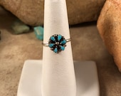 Native Ameican Zuni Needlepoint Turquoise and Sterling Silver Ring Size 6.5