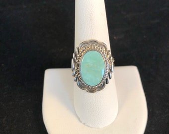 Native American Navajo Dry Creek Turquoise & Sterling Silver Ring Size 9