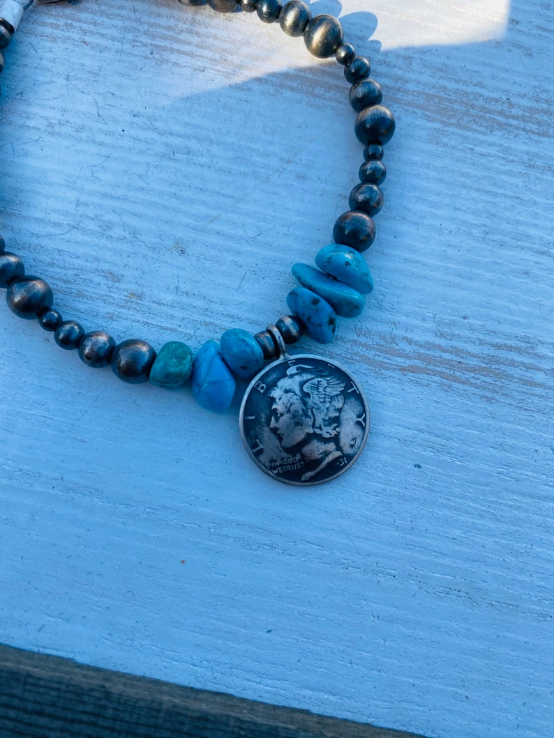 Native American Navajo Turquoise and Navajo Pearl Liberty Dime Beaded Bracelet