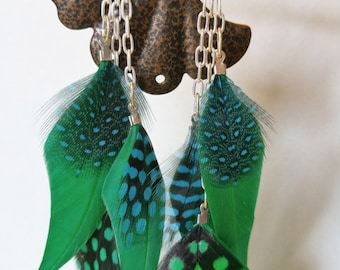 Green Spotted Feather Earrings