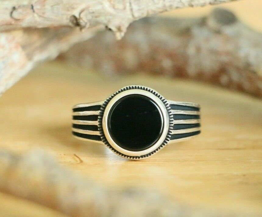 Handmade 925 Sterling Silver Black Onyx Gemstone Indian Ring Jewelry S US 7