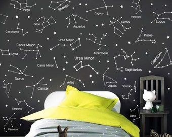 d1bb2a8f2 27 Zodiac Constellation Wall Decals - Star Decals, Zodiac Gift, Vinyl Wall  Decals, Star Wall Stickers, Wall Decor, GIft for Her ga160-I