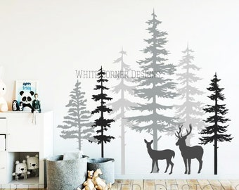 3 Color Pine Tree Forest Wall Decals - Tree Wall Decals, Forest Mural, Deer Decals, Large Wall Decals, Childrens Forest Decals ga80 : decals wall forest - www.pureclipart.com