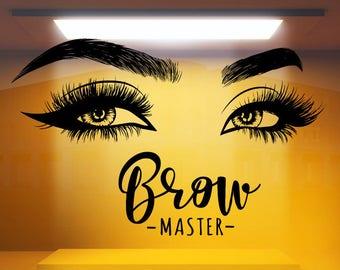 092b029ea96 Eyelashes decal,Eyelashes Eye Decal,Eyelashes Eye Sticker,Girls Eyes, Eyebrows Decal,Brow Bar decal,Beauty Salon Decal,Make Up Decal rta2011