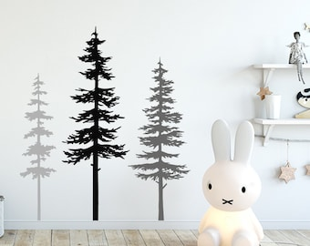 Pine Tree Forest Wall Decals - Tree Wall Decals, Forest Mural, Bear Decals, Large Wall Decals, Children's Forest Decals ga219