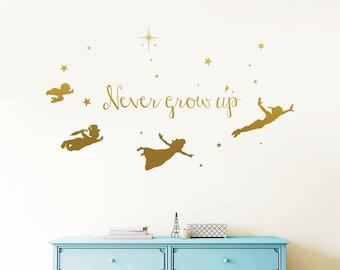 8c9734863d04 Never Grow Up - Peter Pan Wall Decal, Tinkerbell Wall Decal, Peter Pan Wall  Sticker, Disney Decal, Stars Decal, Nursery, Kids rta1902