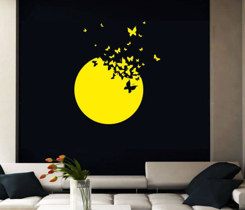 rta 93 Moon Sun Butterfly birds Modern Bedroom Fashion Style Wall Decal Vinyl Decor Sticker Art Decor Bedroom Office