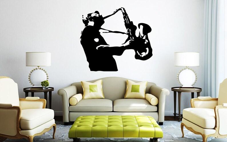 rta 72 Music Style Man Vintage Sax Saxphone Music live Instrument Jazz Jazzman songs Style Bedroom Wall Decal Vinyl Decor Sticker Art