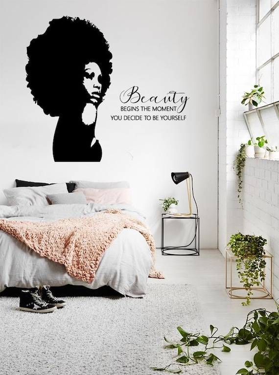 African Girl Wall Sticker ga261 Beauty Wall Decal African Woman Wall Decal