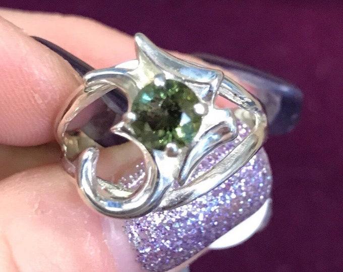 "Faceted MOLDAVITE Ring 1"" long - OM Symbol Ring - Genuine Green Moldavite Jewelry from Czech Republic HM625"