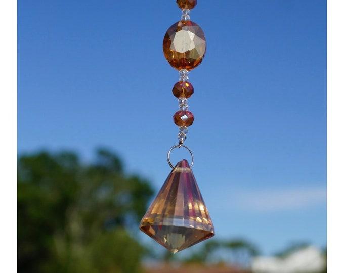 Large Crystal Pendulum Window - Suncatcher - Crystal window Decoration ~ Lead Crystal Sun Catcher ~ Crystal Prism ~ Rainbow Maker E32F