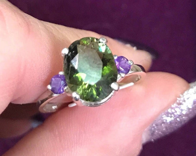 Faceted Moldavite Amethyst Ring-Green Tektite This Healing Crystal can Transform your Life-3 mm 10X8mm-Sizes 4 5 6 7 8 9 10 11 HM604
