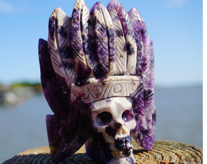 Carved Amethyst Skull - Purple Native American Skull Chevron - 107mm 358g ~ This Healing Crystal can help you give up Bad Habits E12