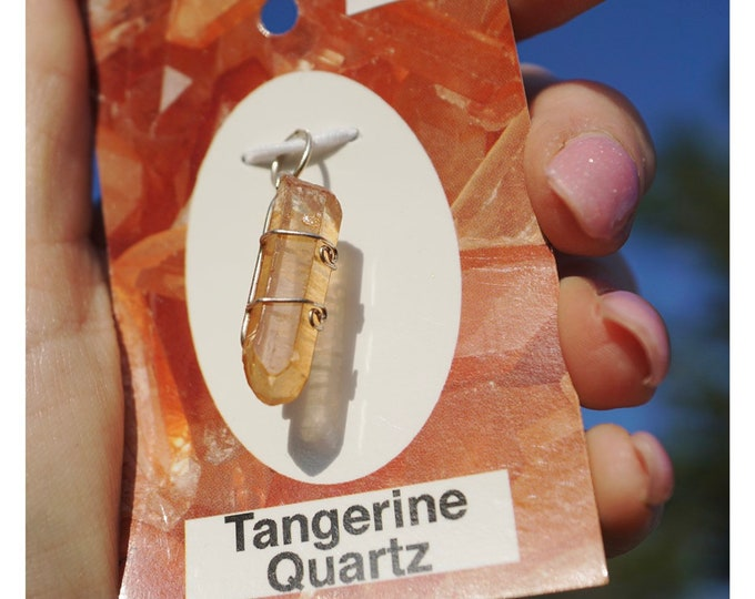 Raw Tangerine Quartz Wrapped with 925 Sterling Wire Pendant - This Healing Crystal can Activate Creative and Sexual Energy HX140