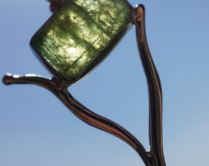 Raw Green Kyanite Pendant - set in 925 Sterling - 55mm - This Healing Crystal can help you connect with Nature PP38