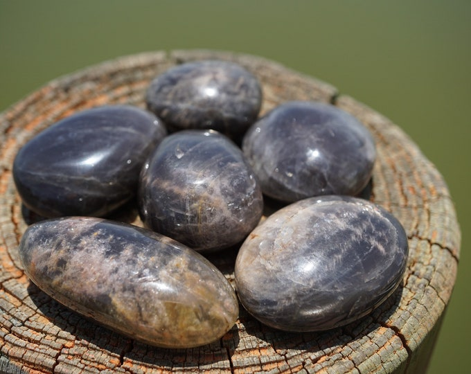 Polished Black Moonstone Palm stone - 50grams 40X20mm - This Healing Cryatal can bring in New; Money, Love, Baby, Project, Home etc...SF26