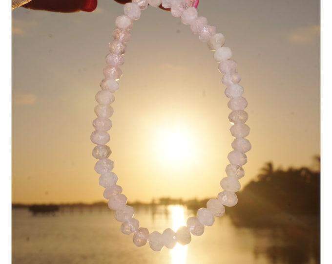 "Pink MORGANITE Bracelet - 7.25"" Beaded Stretch Bracelets- This Healing Crystal can make you feel Divine Self Love B88"