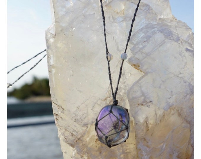 """Polished AURA AMETHYST Necklace Crystal Hemp Wrap Macreme Cord Adj 18-26"""" - This Healing Crystal can help Connect, Protect and Heal"""