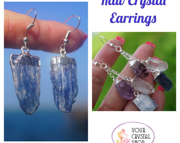 "Raw Blue KYANITE, AMETHYST Points, and Clear Quartz Earrings 925 Silver 2""  Healing Crystals for Communication, Clarity and Protection"