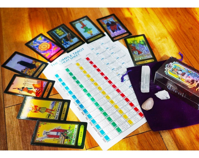 Learn Tarot Cards Kit - Holographic original Rider Waite Deck - 78Pcs Card Deck, Guidebook Includes Clearing Quartz Crystal & Purple Bag