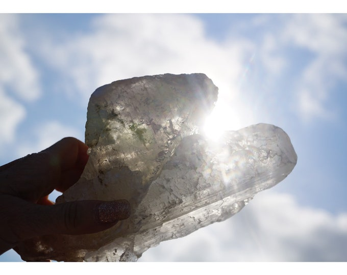 Raw SELENITE Crystal Slab from Mexico - Nicia Selenite - Angel Wing Selenite - Cave of Giant Crystals 930g 180x110x100mm C58