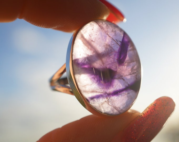 Polished AURALITE 23 Ring - size 9 - Purple Crystal Ring ~ This Amethyst Healing Crystal is a Strong stone with 23 Minerals Inside RGX01