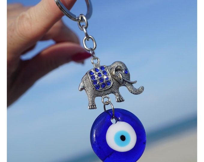 Blue EVIL EYE Keychains - Protection Amulet - 4x1 Inches - Elephant with Blue Crystals or Hamsa Hands of God A88 K20
