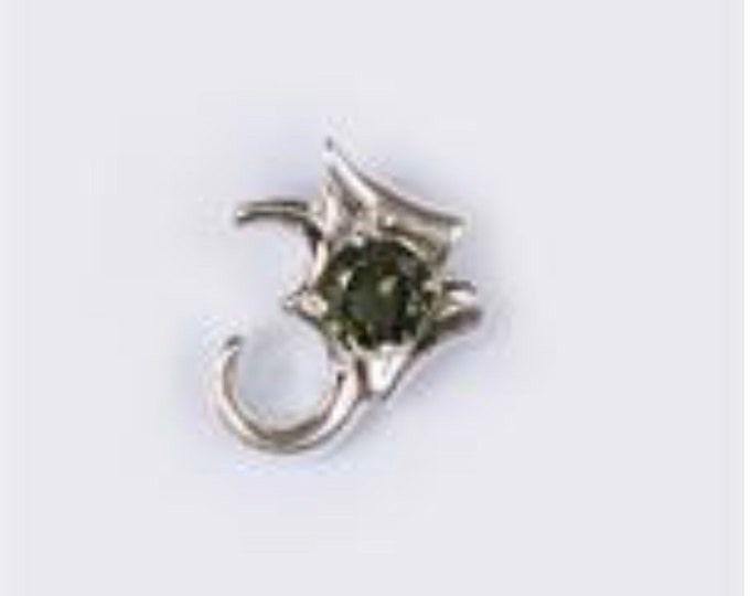 Faceted MOLDAVITE Pendant Om Symbol - Green Moldavite 925 Silver - This Healing Crystal can Rapidly put you on your Spiritual Path 6mm HF522