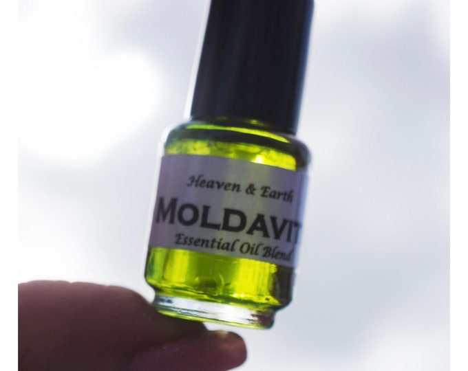 Genuine MOLDAVITE Oil with a Piece of Moldavite in every bottle, Moldavite Incense and Transformation Essential Oil Blend with Moldavite