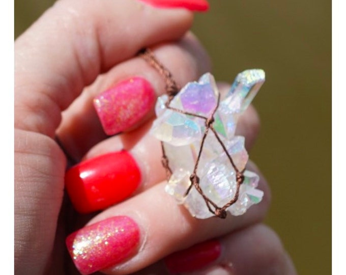 """Raw Angel AURA Quartz Cluster Hemp Wrapped Crystal Necklace - This Healing Crystal can help Connect, Protect and Heal 1"""" adj 18-28"""""""