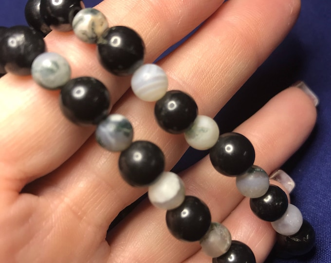 Polished SHUNGITE beaded 8 mm bracelet with MOSS Agate (said to Heal Deep and Protect from harmful EMF energy and help with addictive) mk
