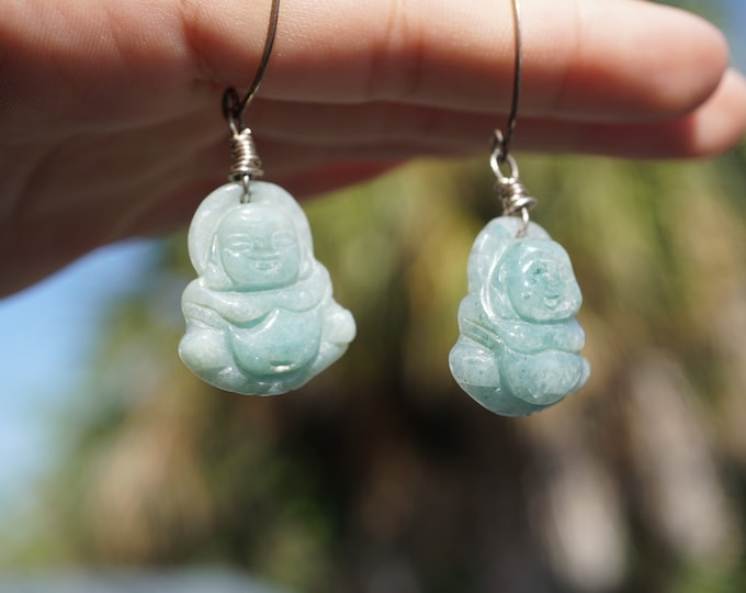 Polished Green Jade Earrings 7 mm Beads - 925 Sterling Silver - This Healing Crystal can Atract Money, Love and Healing