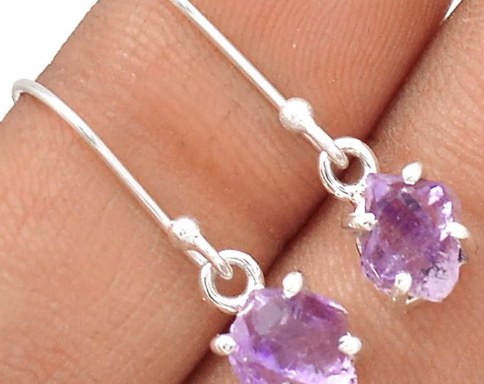 "AMETHYST Crystal Earrings 925 Silver (Said to assist with addictive behavior while increasing Intuition ) 1"" long 2.6 grams B1c"