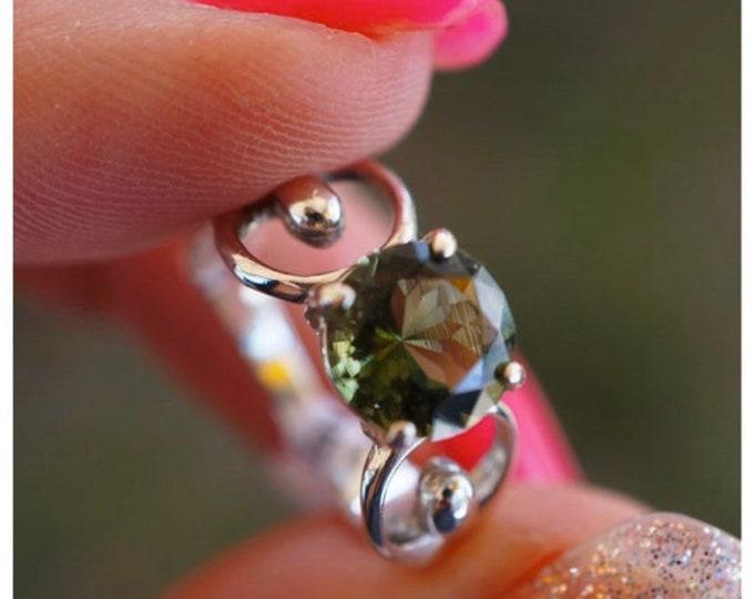Faceted Moldavite Ring - Green Boho Ring - Genuine Moldavite from Cezch Republic Goddess Ring Setting - 8mm sizes 5 6 7 8 9 10 11 12 HF109