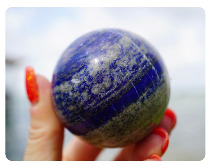 Polished LAPIS LAZULI Sphere - 50mm - This Healing Crystal can promote self awareness XLA50