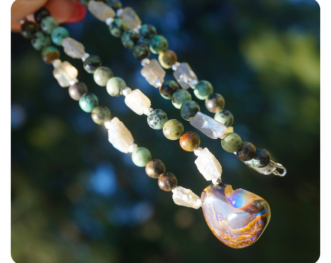 """Polished BOULDER OPAL Necklace - Labradorite & African Turquoise 6-10mm 17.5 """" - These Healing Crystals feel magic JBN01"""