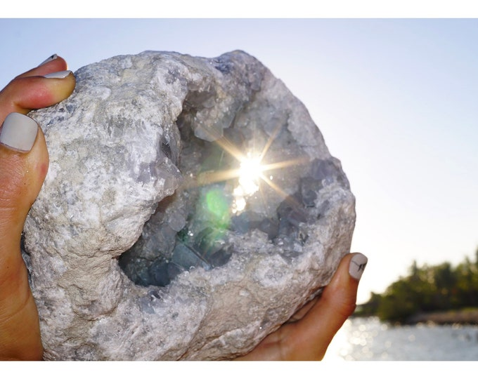 """Raw Huge CELESTITE Geode - Calming Blue Cluster - This Healing Crystal has an Angelic frequency that releases stress - 8 lbs 8x6.25"""" SBA1"""