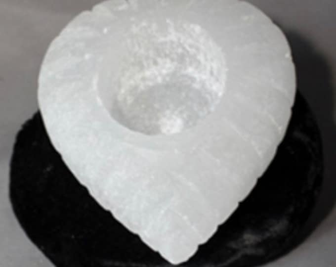 """Polished Selenite Heart Shaped Candleholder  (holds tea candle) approx 2 """" tall and 3 inches diameter - Healing Crystal w high frequency"""